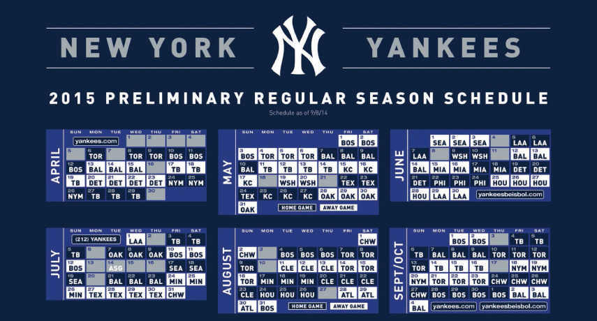 graphic relating to New York Yankees Printable Schedule called The Greedy Pinstripes: Removing MLB Agenda Again toward 154 Video games?